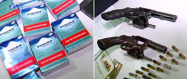 As dez caixas de Viagra roubadas da farmácia foram recuperadas com a prisão dos suspeitos; armas usadas no assalto foram apreendidas (Foto: Reprodução/Inter TV Cabugi)