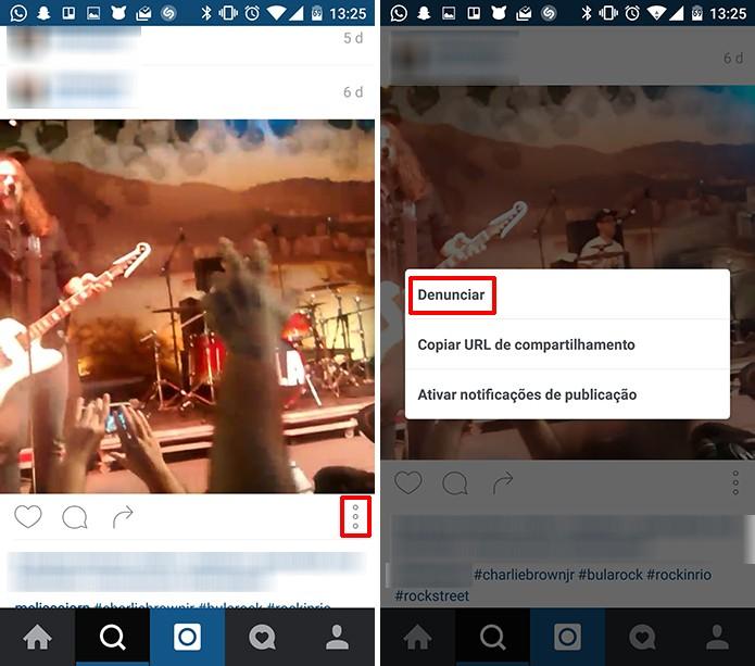 Instagram permite que usuário denuncie vídeos ofensivos ou que infrinjam as regras da rede (Foto: Reprodução/Elson de Souza)