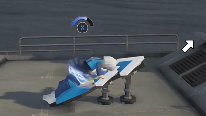 Use Mercúrio para subir no topo do Aeroporta-aviões da Shield em LEGO Avengers e salvar Stan Lee no topo da antena (Foto: Reprodução/Rafael Monteiro)
