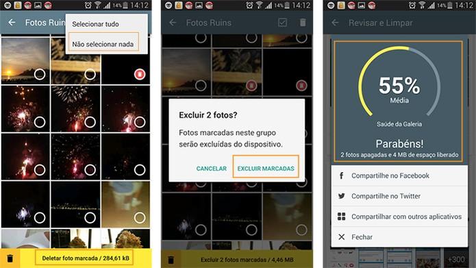 Selecionando e excluindo as fotos de forma mais personalizada pelo app (Foto: Reprodução/Barbara Mannara)
