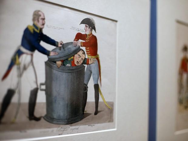 Desenho de Lacroix, de 1815, que mostra Napoleão está na mostra do British Museum (Foto: AFP PHOTO/ADRIAN DENNIS)