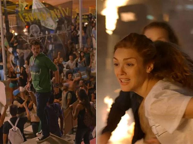 Pedro e Júlia se conhecem em manifestação no Centro do Rio (Foto: Gshow)