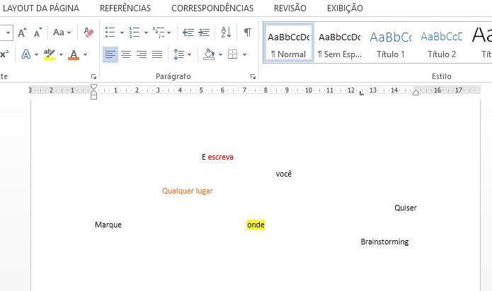 Clique duas vezes para escrever onde quiser, sem alinhamento (Foto: Reprodução/Paulo Alves)
