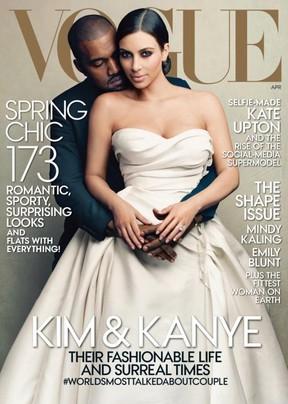 Kanye West e Kim Kardashian (Foto: Revista/Reprodução)