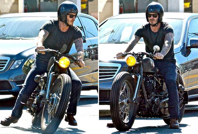 Montagem - David Beckham anda de moto nos EUA (Foto: Editoria de Arte)