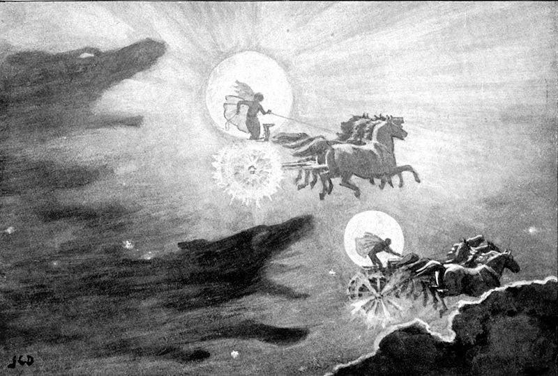 Sköll e Hati perseguem os astros (Foto: Reprodução)