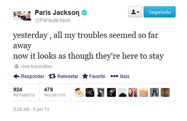 """""""Ontem todos os meus problemas pareciam tão distantes. Agora, parece que eles vieram para ficar"""", escreveu Paris no Twitter (Foto: Reprodução)"""