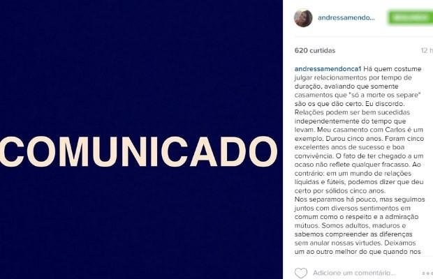 Andressa Mendonça anuncia separação de Carlos Cachoeira nas redes sociais (Foto: Reprodução/ Instagram)
