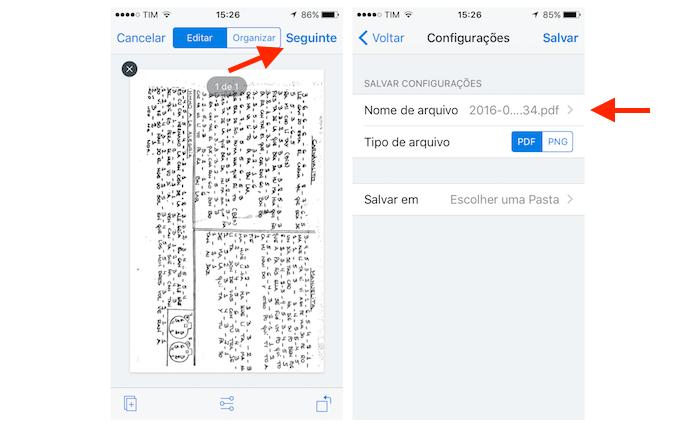 Acessando a opção para renomear um arquivo escaneado através do Dropbox para iPhone (Foto: Reprodução/Marvin Costa)