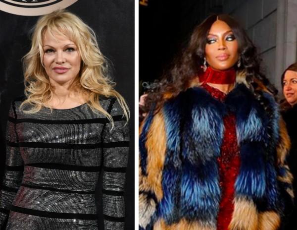 A atriz Pamela Anderson e a modelo Naomi Campbell vestindo um casaco de pele (Foto: Getty Images/Instagram)