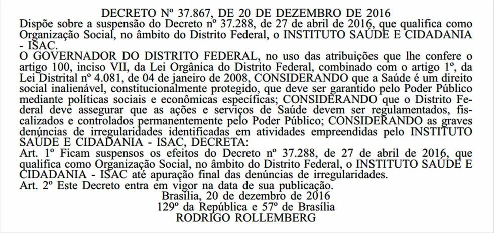 Reprodução do decreto assinado por Rodrigo Rollemberg suspendendo qualificação do ISAC. (Foto: Diário Oficial/DF)