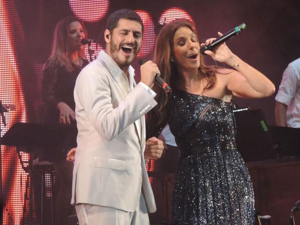 Ivete Sangalo e Criolo cantaram juntos os grandes sucessos de Tim Maia. (Foto: Katherine Coutinho / G1)