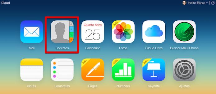 Acesse a sua conta no iCloud e abra a agenda (Foto: Reprodução/Helito Bijora)