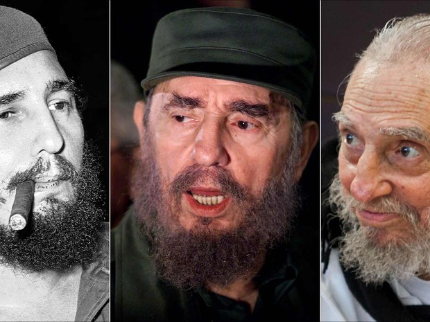 Fidel Castro em 1961, 2000 e 2016 (Foto: Associated Press')