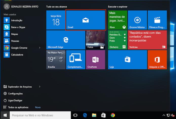 Executando app Email no Windows 10 (Foto: Reprodução/Edivaldo Brito)