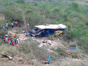 Ônibus saiu de Pernambuco com destino a São Paulo (Foto: Edson Nunes/ TV Sudoeste)