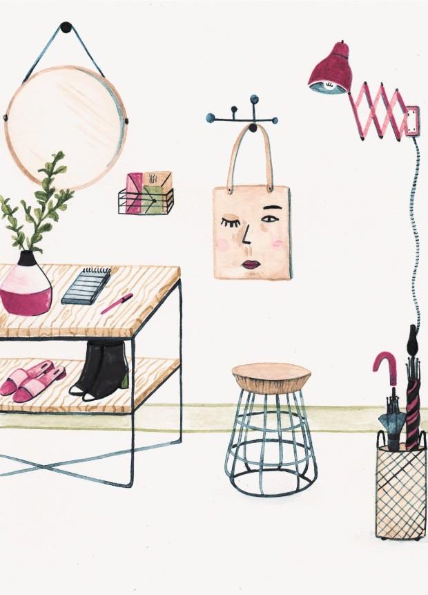 Ilustração hall de entrada - funcional (Foto: Ilustração Anália Moraes)