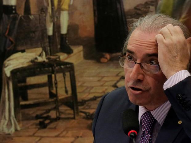 O deputado Eduardo Cunha, ex-presidente da Câmara, fala durante uma sessão da Comissão de Constituição e Justiça em Brasília (Foto: Ueslei Marcelino/Reuters)