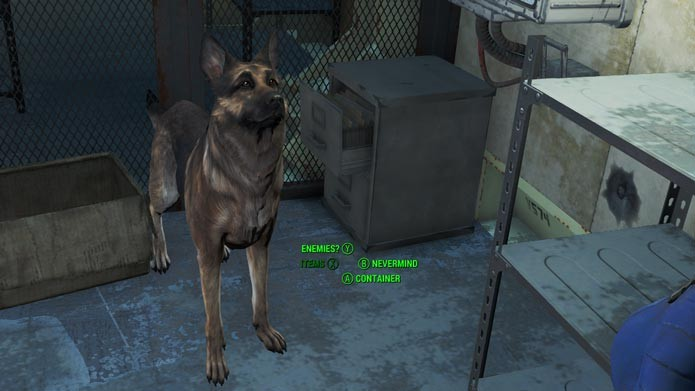 Na Vault 111, vá até a salinha perto do computador e peça para Dogmeat procurar um item (Foto: Reprodução/Tais Carvalho)