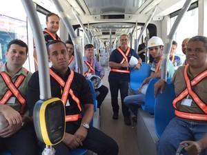 Treinamento de condutores do VLT no Centro do Rio (Foto: Káthia Mello/G1)