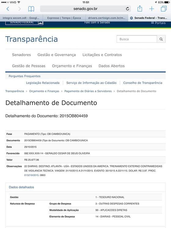 Agente legislativo recebeu R$ 25 mil dos cofres públicos para viagem aos Estados Unidos (Foto: Reprodução)