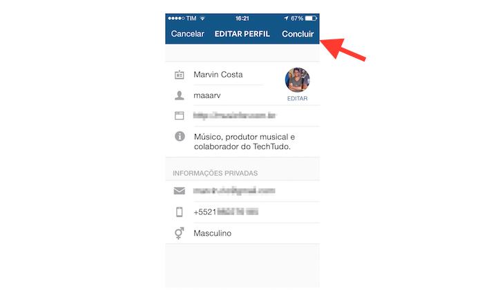 Página de edição de perfil do Instagram no celular (Foto: Reprodução/Marvin Costa)