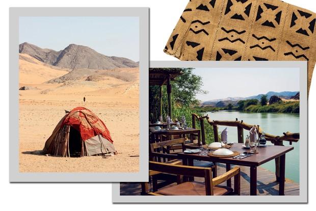 Cabana do povo himba no meio do deserto e a varanda do camp Serra Cafema com vista para o rio cunene (Foto: Divulgação)