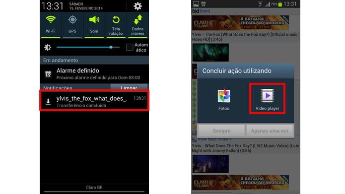 Selecione a notificação de término do download e escolha o app que irá reproduzir o vídeo (Foto: Reprodução/Daniel Ribeiro)
