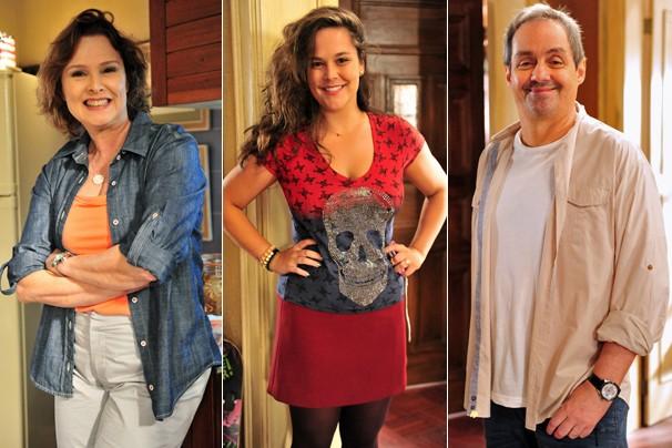 Salma (Louise Cardoso), Socorro (Tatiana Alvim) e Gilson (Daniel Dantas) são personagens do lar de crianças abandonadas em Sangue Bom (Foto: João Miguel JR./Globo)