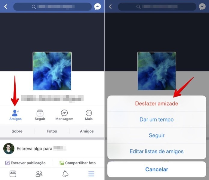 Removendo um amigo do Facebook no iPhone (Foto: Reprodução/Helito Bijora)