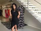 Mileide Mihaile, ex de Safadão, deixa pernas à mostra com vestido fendado
