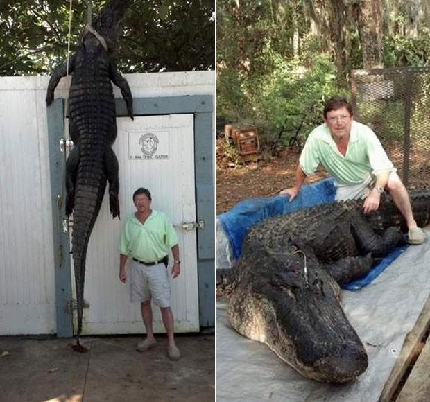 Lane Stephens capturou aligátor de 4,3 metros de comprimento no lago Talquin. (Foto: Reprodução)