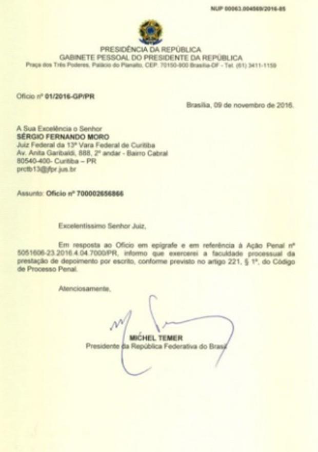 Ofício enviado pelo presidente Michel Temer ao juiz federal Sérgio Moro (Foto: Reprodução)