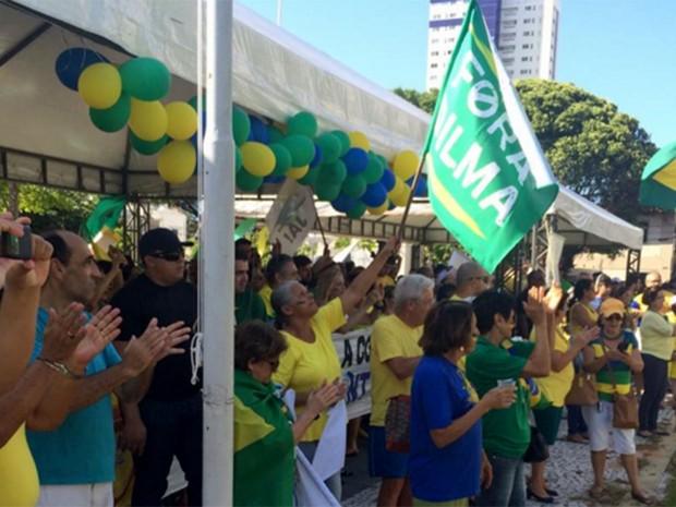 Protesto pelo impeachment da presidente Dilma acontece em Natal (Foto: Renato Vasconcelos/G1)
