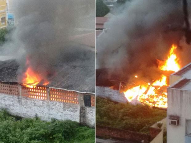Incêndio em imóvel no bairro da Macaxeira, no Recife, começou por volta das 17h, segundo testemunhas (Foto: Reprodução / Enviada por WhatsApp)