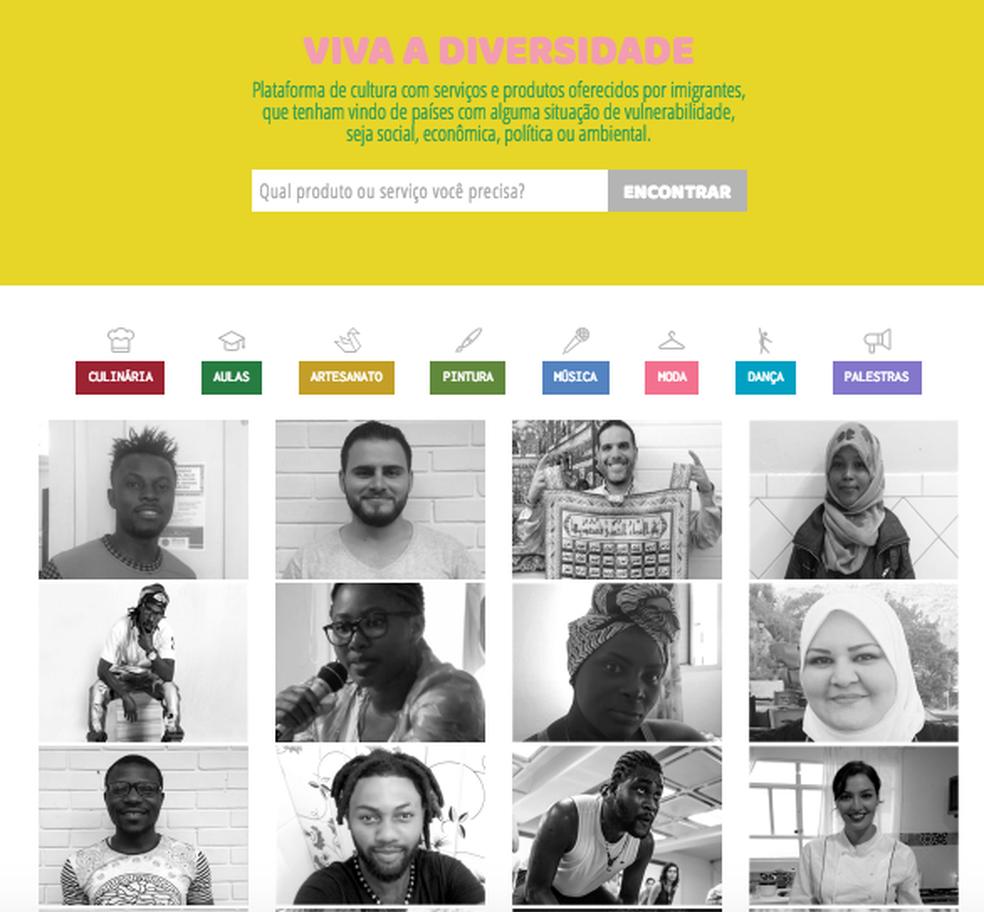 O site Conectados, que reúne o perfil de mais de cem imigrantes, é dividido em sessões como Dança, Culinária, Música e Pintura (Foto: Reprodução/conectados.cc)
