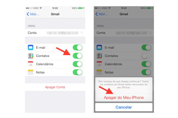 Desativando a sincronização de contatos do Mail com a agenda do iOS (Foto: Reprodução/Marvin Costa)