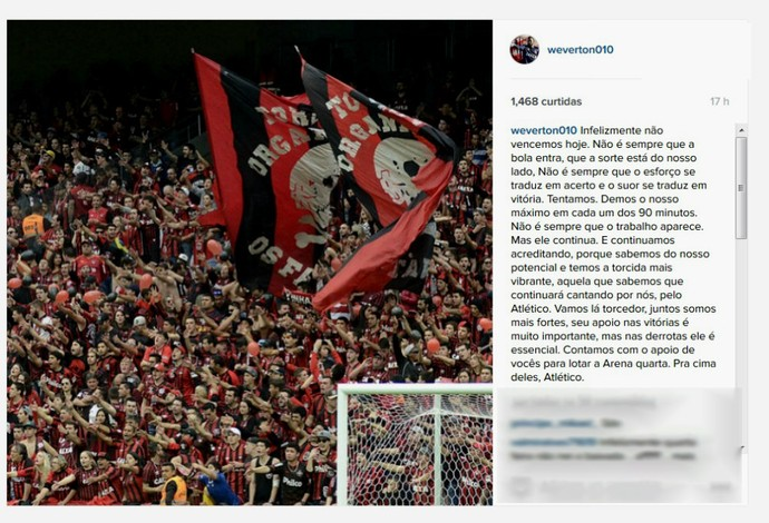 Goleiro Weverton Atlético-PR (Foto: Reprodução/Instagram)