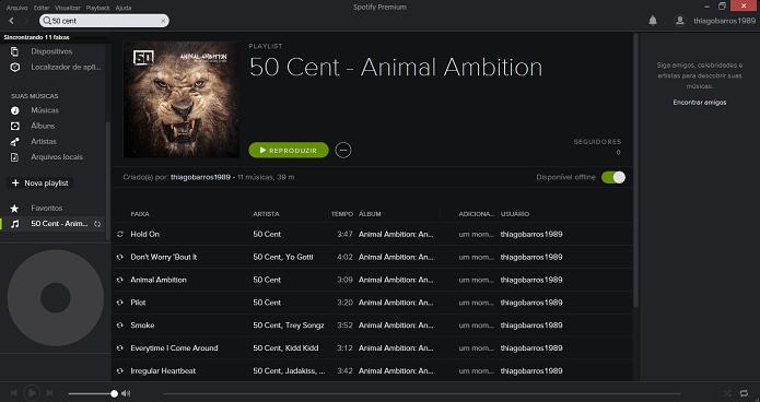 Spotify faz download das músicas (Foto: Thiago Barros/Reprodução)