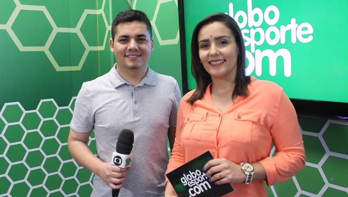 Marcus Vinícius Souza e Natália de Oliveira falam sobre o esporte da região no programa do GE TV TEM (Foto: Luiz Ferreira)