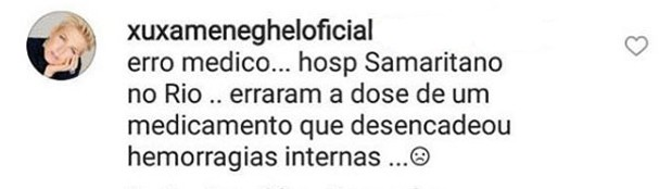 Xuxa aponta erro médico no tratamento de seu pai Luiz (Foto: Reprodução/Instragram)