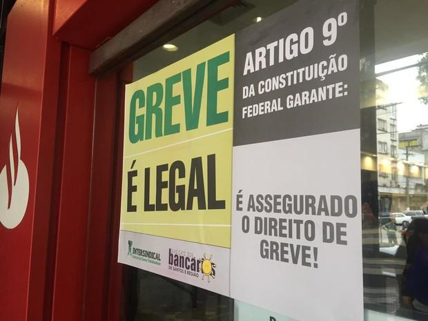 Bancários da Baixada Santista aderem a paralisação nacional (Foto: Isabela Oliveira/G1)