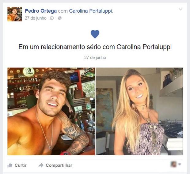 Pedro Ortega e Carol Portaluppi (Foto: Facebook / Reprodução)