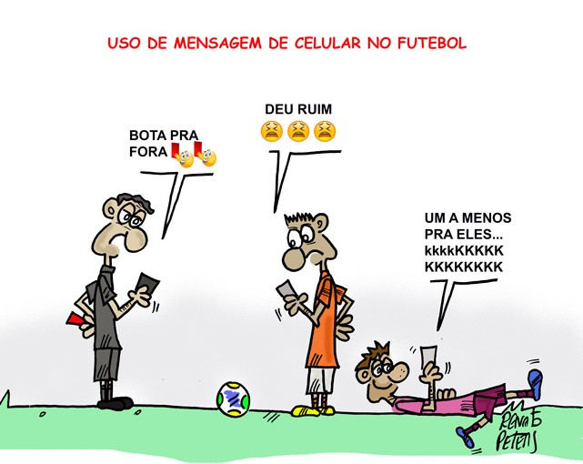 Tecnologia no futebol -Charge Peters