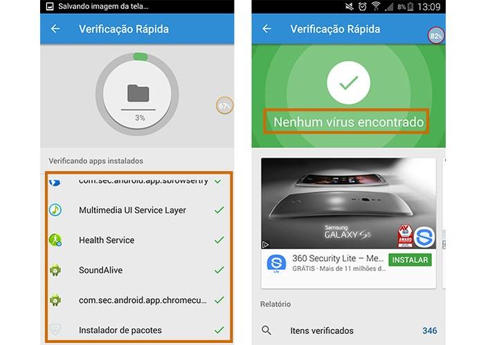 Resultado mostra se o Android tem algum vírus ou não (Foto: Reprodução/Barbara Mannara)