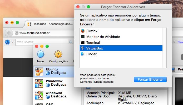 Usando a janela Forçar Encerrar Aplicativos para fechar aplicativos (Foto: Reprodução/Edivaldo Brito)