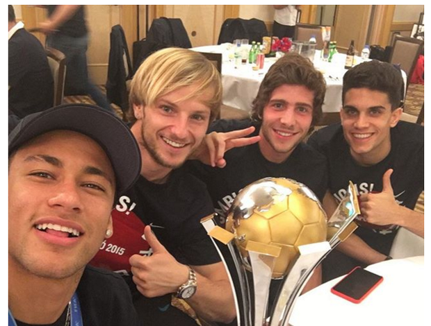 Neymar, Rakitic, Sergi Roberto e Marc Bartra Mundial