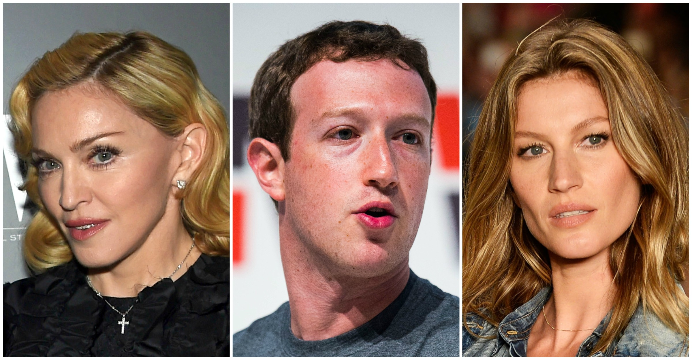 Madonna, Mark Zuckerberg e Gisele Bündchen. (Foto: Getty Images)
