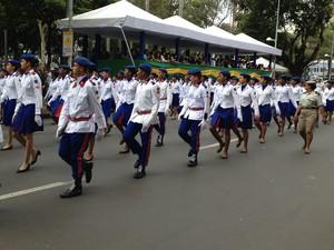 Estudantes do Colégio da Polícia MIlitar, em Salvador. (Foto: Maiana Belo / G1)