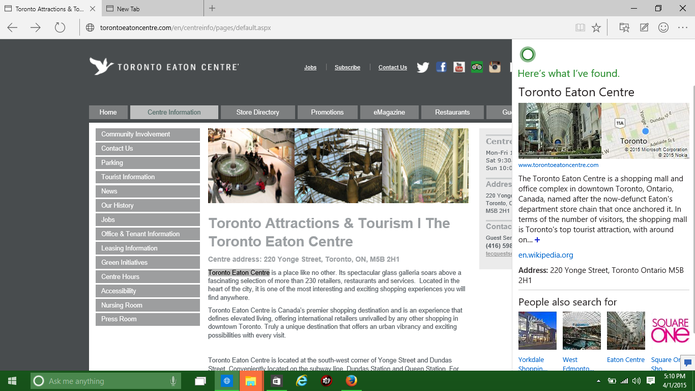Ask Cortana pode fornecer dados sobre uma localidade e outros detalhes (Foto: Reprodução/Elson de Souza)